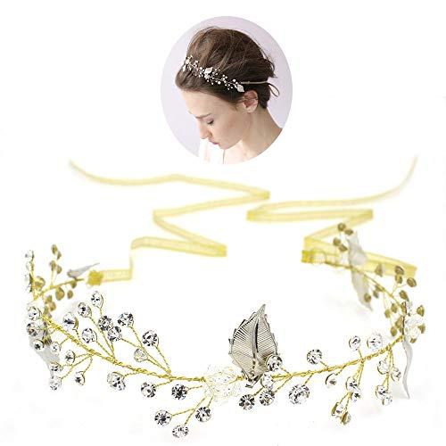 roroz Handgemachte Strass Kristall Braut Haarband, Hochzeitskleid Kopfschmuck Haarschmuck, Braut Hochzeit Schmuck Engagement Tiara,Gold