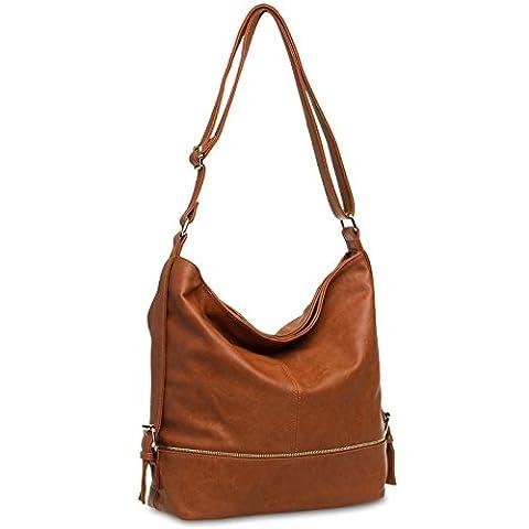 CASPAR TS732 große Damen Umhänge Tasche, Farbe:braunrot (Handtasche Bench)