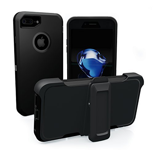 iPhone 7 Plus Fall, Toughbox [Armor Serie] [stoßfest] für Apple iPhone 7 Plus Schutzhülle [in Displayschutzfolie] [mit Holster & Gürtel Clip] [passt in Otterbox Defender Serie Gürtelclip], ■ Black Defender Series-holster