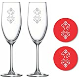 TYYC 25th Marriage Anniversary Duchess Champagne Flutes, Coasters set of 4, gifts for couples, husband, wife