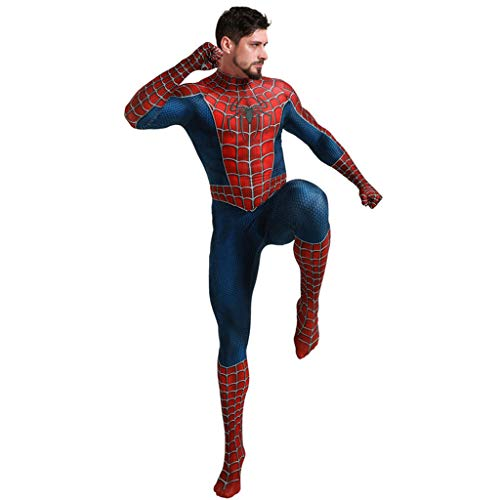 Herren Superheld Spiderman Kostüme Erwachsene Spiderman Overall Body Halloween Cosplay Kostüme für Herren,Blue,XL (Herren Superheld Kostüm)