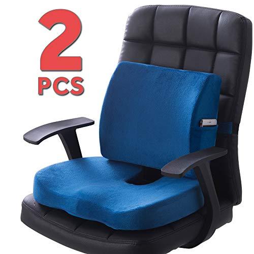 QUTOOL Orthopädisches Sitzkissen und Lendenwirbelstützkissen für niedrige Rückenlehne, Ischias, Schmerzlinderung - verbessert die Körperhaltung - Bürostuhl, Autositzkissen Rollstuhl, Schwarz blau