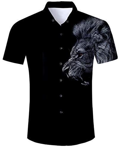 ALISISTER Hawaiihemd Herren Schwarz Sommerhemd Kurzarm 3D Löwe Drucke Hässliche Aloha Button Down Hawaii Hemd Sommer Urlaub Party Strand Kostüm Shirt - Löwe Kostüm Männer