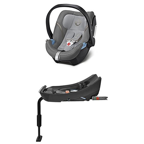 Cybex Gold Aton 5, Autositz Gruppe 0+ (0-13 kg), Kollektion 2018, manhattan grey + Basisstation Aton Base 2-fix, Gruppe 0+ (0-13 kg), black