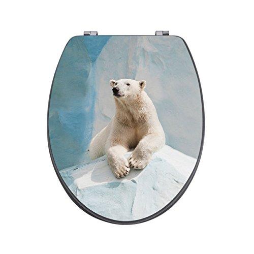 banjado Design Toilettensitz in Anthrazit | WC-Sitz Holz MDF 42,3×3,5×37,5cm | Klodeckel mit Edelstahl Scharnieren | Toilettendeckel mit Motiv Eisbär 2