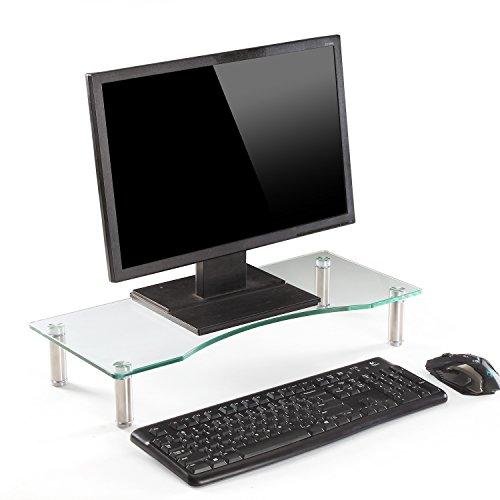 Ttap Klarer Glas-Ständer für Monitor, für Laptop, Computer, TV, Bildschirm-Erhöhung, Höhe verstellbar, 56cm L x 24cm T x 9cm H, farblos, Clear