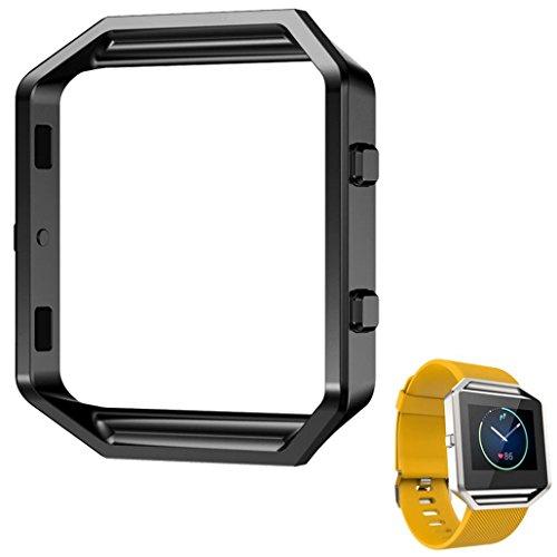 Fulltime® LFQ-65 Luxus-Uhr aus Edelstahl Ersetzen Metallrahmen -Uhr-Halter Uhrenarmband für Fitbit Blaze Smart Watch (Black )