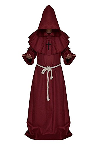 Mens Church High Priester Mönch Druide Cosplay Kostüm Halloween Party Kleid Robe Umhang Rot S