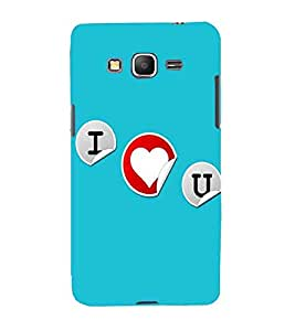 For Samsung Galaxy Grand Prime :: Samsung Galaxy Grand Prime Duos :: Samsung Galaxy Grand Prime G530F G530Fz G530Y G530H G530Fz/Ds I love you, good quotes, blue background, heart Designer Printed High Quality Smooth Matte Protective Mobile Case Back Pouch Cover by APEX