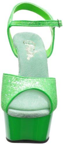 Pleaser Delight-609uvg, Sandali Punta Aperta Donna Neon Green Gltr/Green
