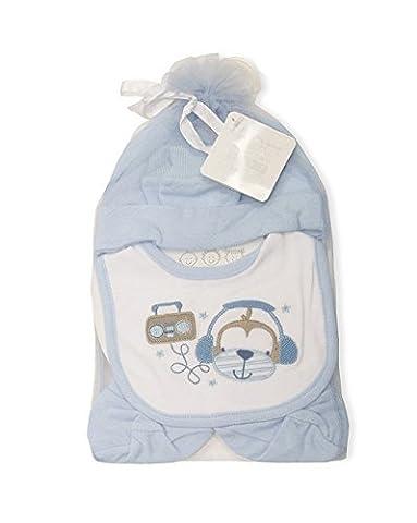Coffret cadeau Cheeky Monkey 4pièces pour bébé garçon Comprend bavoir,