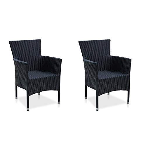 dasmöbelwerk Polyrattan Stuhl mit Sitzpolstern Rattan Stuhl Dining Sessel Gartenmöbel Gartenstuhl...
