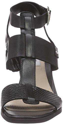 Clarks Image Crush Damen Knöchelriemchen Sandalen mit Blockabsatz Schwarz (Black Leather)