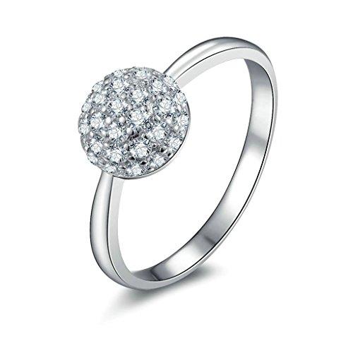 Daesar Silberring Damen Ring Silber Ehering für Damen Verlobungsring Benutzerdefinierte Ring Runde Strass Ring Größe:60 (Wünsche Indischen Kostüm 3)