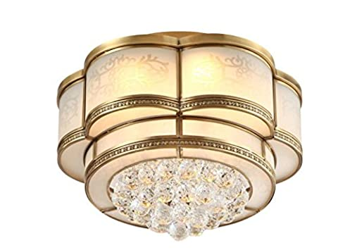 Brass Ceiling Lamp for Living Room Bedroom Kitchen Diameter 40CM 40W Crystal Lamp [Energy Class A++] diameter 40cm