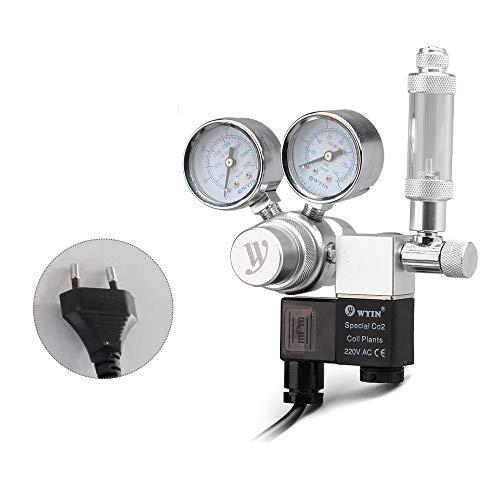 Decdeal Aquarium CO2 Druckminderer CO2 Druckregler mit Großem Doppeltem Manometer, Magnetventil und Blasenzähler -