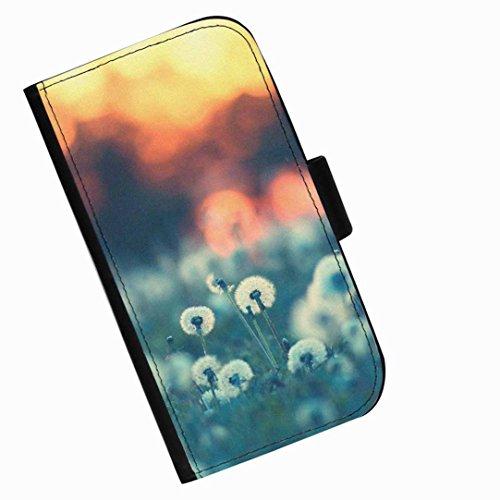 Hairyworm - Löwenzahn mit Sonnenaufgang hinter Blackberry 9720 Leder Klapphülle Etui Handy Tasche, Deckel mit Kartenfächern, Geldscheinfach und Magnetverschluss.