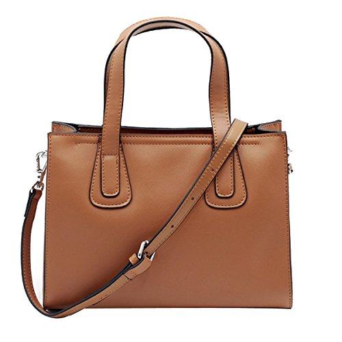 Frauen Faux-Leder-Aktenkoffer Messenger Bag Damen Handtaschen Multicolor,Brown-M (Faux-leder-aktenkoffer-tasche)