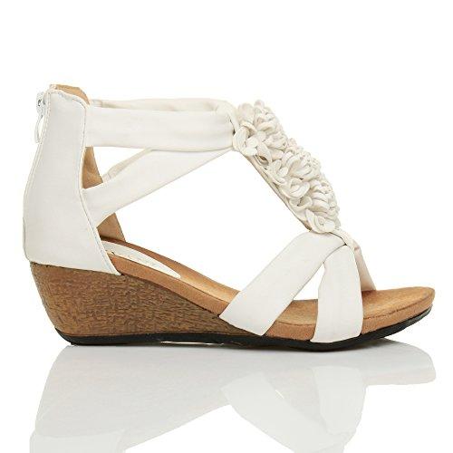 Femmes mi talon compensées bout ouvert t-bar fleur lanières sandale pointure Blanc mat