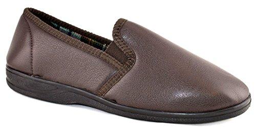 Pour Homme En Simili Cuir Rembourré sur semelle en caoutchouc antidérapant Chambre Pantoufles Chaussures Taille 7–14 Marron - marron
