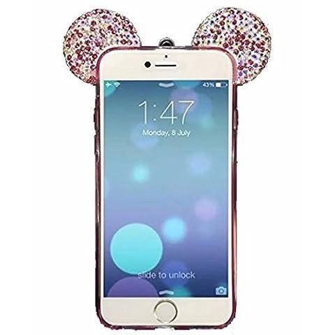 Vandot Étui pour Apple iPhone 5/5S Exclusif cristal transparent coque souple en TPU, 3D Motif diamant bling Mickey Mouse d'oreille Transparent pratique Étui de protection à paillettes strass Coque en arrière Housse Coque bumper avec sangle cou cordon–Blanc