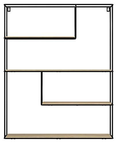 LIFA LIVING Etagere Murale Bois et Metal avec 3 Etageres, Bibliotheque Murale Design Hexagonale, Etagere de Rangement Murale Cuisine, Chambre et Salle de Bain, 55 x 11 x 45 cm