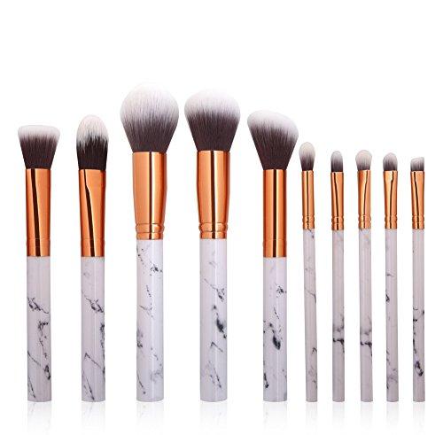 Pinceaux Maquillages, Eouine Marbre Makeup Brushs 10 pièces Professionnel Kit Pinceau Maquillage Brosse Brush de Beauté Outils pour Sourcils, Yeux, Joues, Teint, Visage