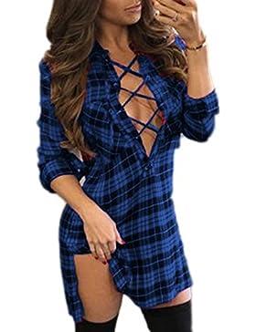 YMYY-Kleider Verano de Partido Club Nocturno Mujeres Moda a Cuadros Apretado Corto Vestidos Sexy Cuello V Profundo...
