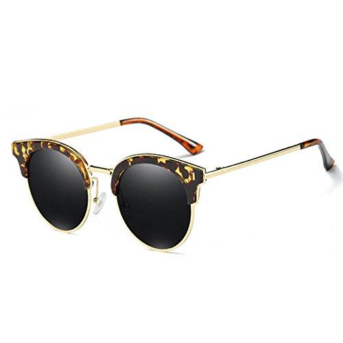 RLJJSH Sonnenbrillen Coole Persönlichkeit Halbrahmen UV-Schutz Sonnenbrillen Damen Männer Retro-Marke Sonnenbrillen Sonnenbrille (Farbe : Bean Frame Black, größe : One Size)