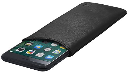 StilGut Pouch, Universal-Hülle aus feinstem Nappaleder | Sleeve Handyhülle Größe XL für z.B. iPhone 7 Plus, Samsung Galaxy Note 7, Honor View 10 u.a, Schwarz Nappa