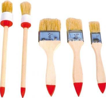 5 Stück Flachpinsel und Rundpinsel, Set: 3 Flach 2 Rund Pinsel Malerpinsel Satz