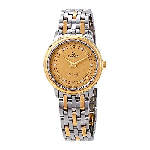 Omega De Ville Prestige Diamond Champagne Dial Ladies Watch 424.20.27.60.58.004
