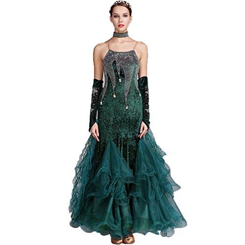 Kostüm Green Tanz - Schultergurte Modern Walzer Tanzkleider für Frauen Samt Wettbewerb Kleider Nationale Ballsaal Tanz Kostüm, Green, XXL