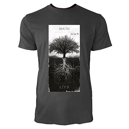 SINUS ART® Baum mit Wurzeln – Death & Life Herren T-Shirts in Smoke Fun Shirt mit tollen Aufdruck (Männer Bäumen In)