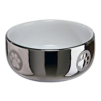 Trixie Ecuelle en Céramique pour Chat Argent/Blanc Diamètre 11 cm 0,3 L