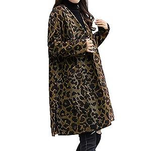 TianWlio Jacken Leopardjacke für Lange Ärmel V-AusschnittJacketjacke Lässige Oberbekleidung Parka Mäntel Herbst Winter Warme Jacken Strickjacken Damen Kaffee M/L/XL/XXL