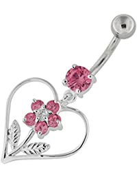 Piercing India Pink CZ Crystal Stone Studded Flower in Heart 925 Sterling Silver Belly Ring Body Jewelry