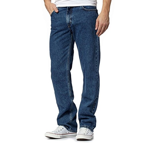 MyShoeStore Mens Original 100% Cotton Jeans Plain Straight Leg Heavy Duty Denim Wash Boys Jean Classic Designer Stretch Fit Casual Work Wear Zip Fly Belt Loop Pants Pocket TROSUERS Sizes 30-50