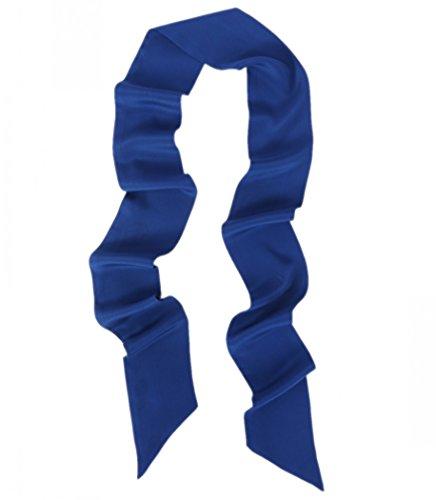 prettystern Halstuch Breit 10 Cm Skinny 200cm Seidenschal 2-lagig Seide Uni-farbe Krawattenschal 6. Dunkelblau -