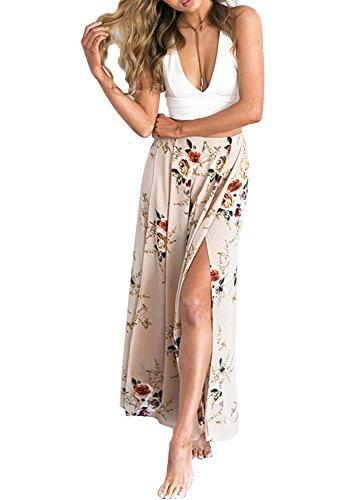 Minetom donna estivi eleganti maxi boho stampato casual pantaloni larghi split loose fit harem gamba larga sciolto vita alta trousers caffè eu xl