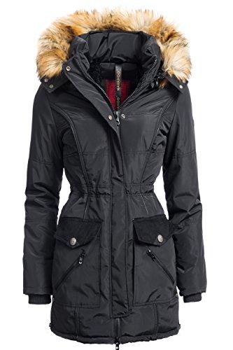 Winterjacke | Wintermantel | Stepp-Jacke für Damen Modell Elisa von Navahoo - eleganter Kurz-Mantel im schlanken Parka-Stil mit Fellkapuze aus Kunstpelz ideal für den Winter in Schwarz, Größe XS