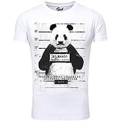Hombres T-shirt Goodflow Delgado Fit Narcos Panda Cuello redondo manga corta Blanco XL