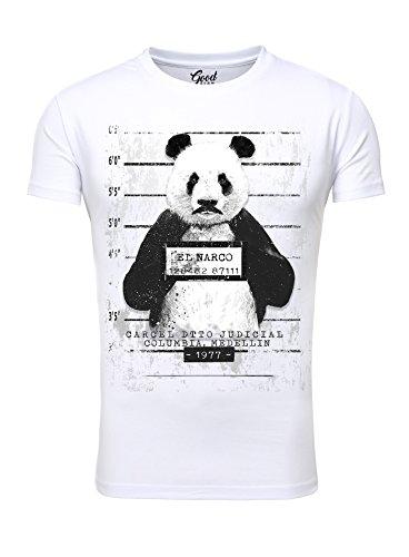 Herren T-Shirt Goodflow Slim Fit Narcos Panda Rundhals kurzarm Weiß