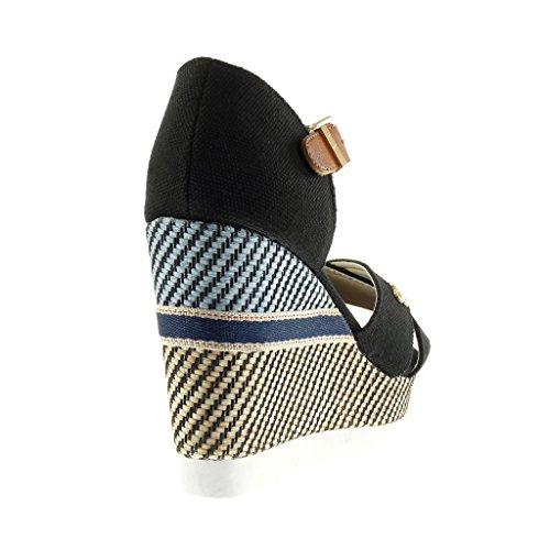 Angkorly Chaussure Mode Sandale Mule Plateforme Mary Jane Semelle Basket Femme Tréssé Brodé Lanière Talon Compensé Plateforme 10.5 CM Noir