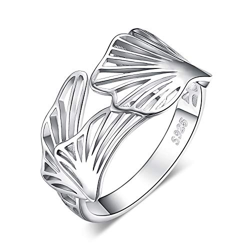 Jewelrypalace 925 Sterling Silber Hohl Ginkgo Leaf Statement Ring