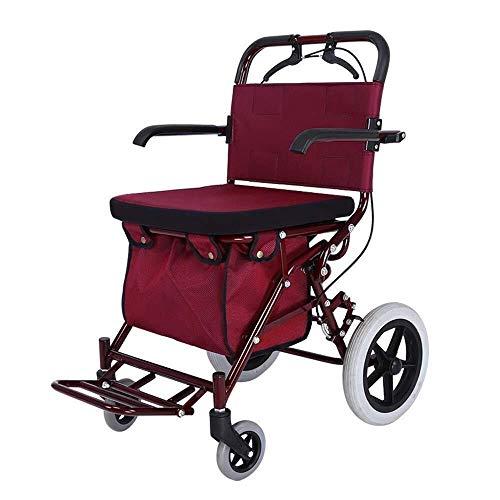 WWW Leichter Zusammenklappbarer Allrad-Rollator Mit Gepolstertem Sitz, Pedal Und Doppelter Einstellbarer Sicherheitsbremse Einkaufswagenlaufkatze des Alten Mannes (Color : Red) -