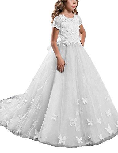 Kostüme Cinderella Benutzerdefinierte (CLLA dress Mädchen Hochzeit Fest Blumenmädchen Kleider Bodenlanges Kinderkleid Kommunionkleid Ballkleid Partyskleid mit Ärmeln(Weiß,11-12)