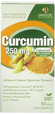 Genceutic Naturals Curcumin Bcm 95, 60Vcaps, 250 Mg by Genceutic Naturals