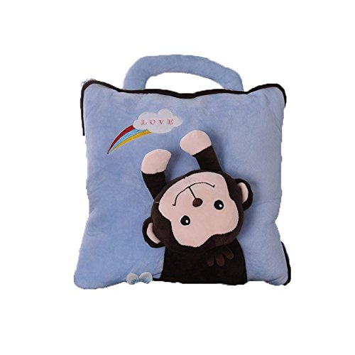 Non Svanire Super Soft Legge Levin Cartone Animato Cuscino Di Velluto Multifunzione Coperta (Aperto) , Naughty Monkey Blue , 35*35Cm,naughty blue,35*35cm