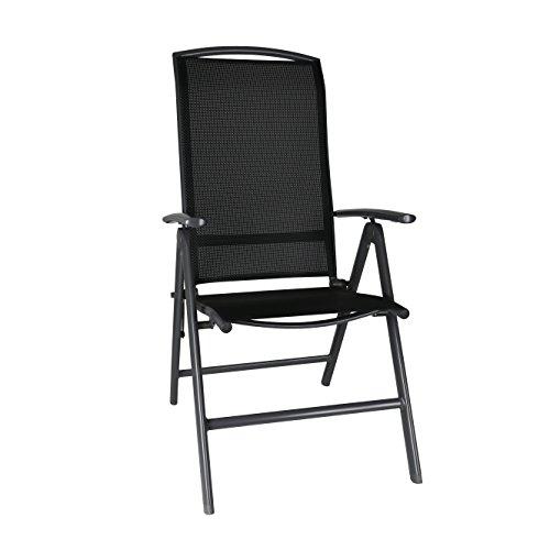 greemotion Klappsessel Aruba anthrazit/schwarz, Stuhl aus schnell trocknender 4x4 Textilene, hochwertiges Aluminiumgestell, 7-fach verstellbare Rückenlehne, platzsparend klappbar